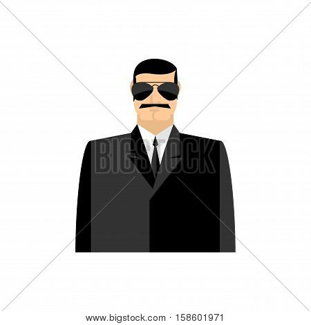Spy Portrait. Secret Agent In Black Suit. Bodyguard Isolated