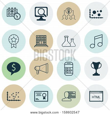 Set Of 16 Universal Editable Icons. Can Be Used For Web, Mobile And App Design. Includes Icons Such As Crotchets, Comparison, Chemical And More.