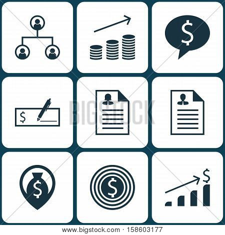 Set Of Human Resources Icons On Successful Investment, Tree Structure And Bank Payment Topics. Editable Vector Illustration. Includes Success, Organisation, Female And More Vector Icons.