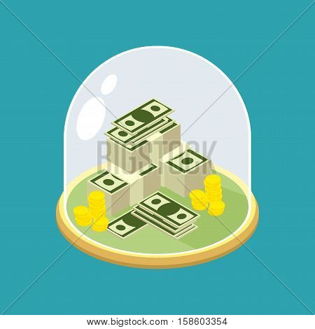 Money Under Glass Bell. Transparent Dome For Finance. Protecting Cash