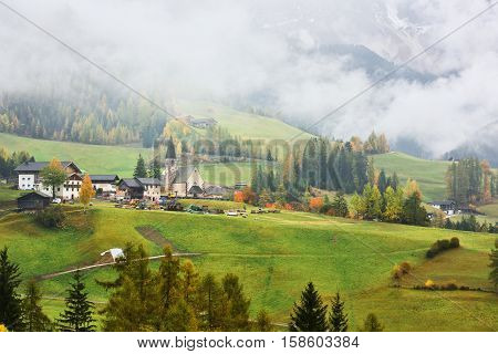 Val Di Funes In Fog, Dolomites, Italy