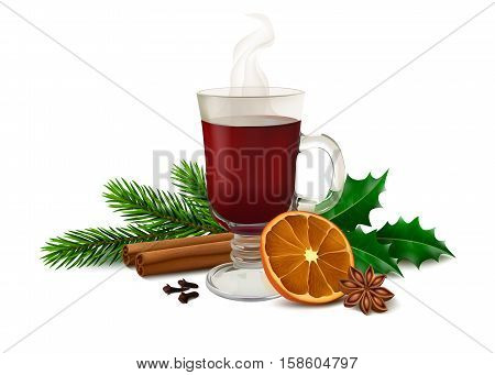 Mulled wine in glass, twig of Holly, spruce twig, cinnamon sticks, dried orange slice, anise, dried cloves. On white background. Vector illustration.