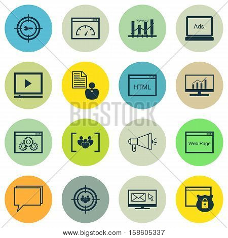Set Of SEO Icons On Keyword Optimisation, Market Research And Digital Media Topics. Editable Vector Illustration. Includes Businessman, Online, Marketing And More Vector Icons.