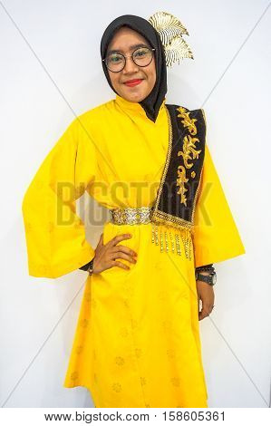 Labuan,Malaysia-Nov 26,2016:Malay lady with zapin custome during Borneo festival in Labuan.Zapin is a dance form that is popular in Indonesia & Malaysia,especially in the state of Johor.