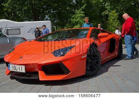 TURKU, FINLAND - JUNE 13, 2015: Orange Lamborghini Aventador LP 700-4