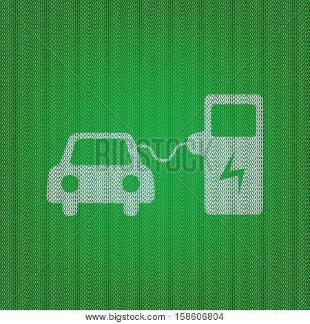 Electric Car Battery Charging Sign. White Icon On The Green Knit