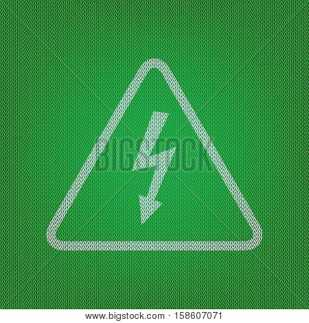 High Voltage Danger Sign. White Icon On The Green Knitwear Or Wo