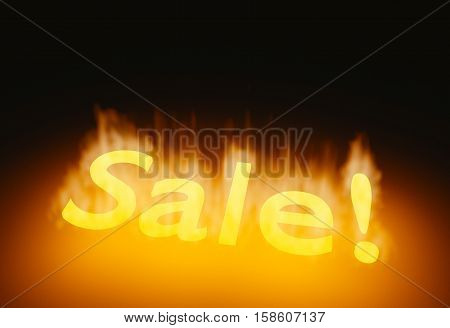 Red realistic sale banner. Hot sale ribbon in flames. 3d render