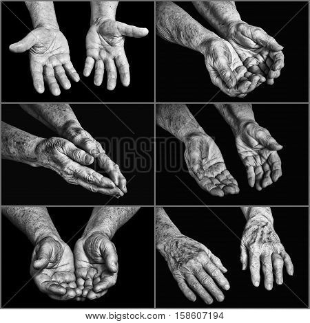 Collage hands of elderly persons on a black background