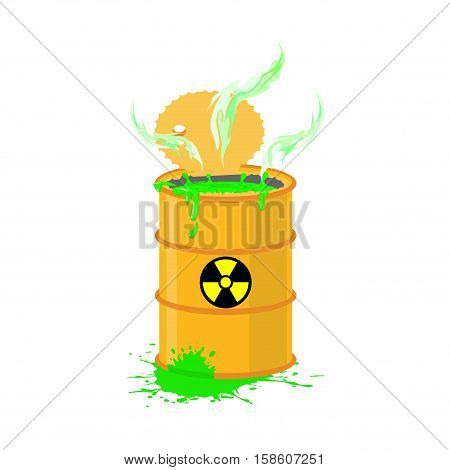 Chemical Waste Yellow Barrel. Toxic Refuse Keg. Poisonous Liquid Cask. Radioactive Garbage Emissions