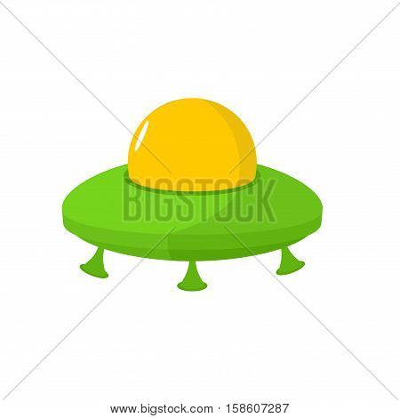 Ufo Isolated. Flying Saucer On White Background. Space Transport For Aliens. Galaxy Invader