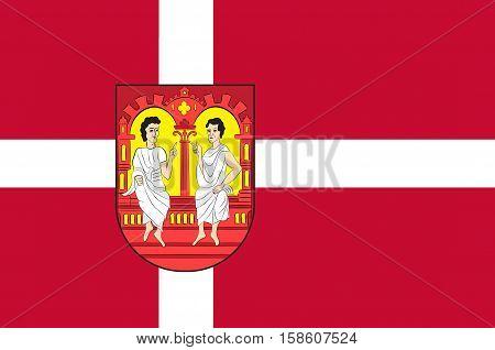 Flag of Viborg in Central Jutland Region in Denmark