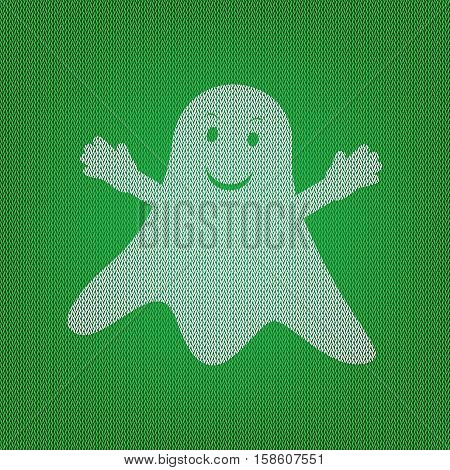Ghost Isolated Sign. White Icon On The Green Knitwear Or Woolen