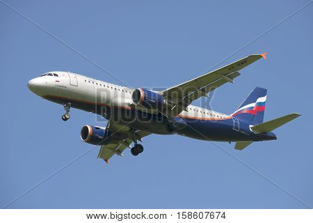 SAINT PETERSBURG, RUSSIA - JUNE 29, 2015: Airbus A320 (VP-BWM) before planting closeup