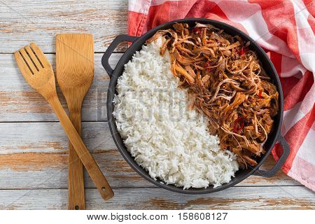 Pulled Pork Grilled In Oven With Basmati Rice
