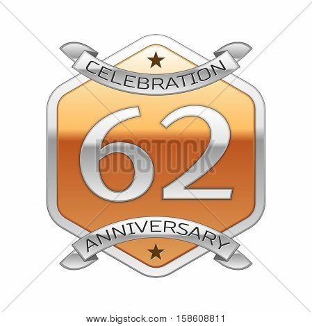 Sixty two years anniversary celebration silver logo with silver ribbon and golden hexagonal ornament on white background.