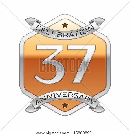 Thirty seven years anniversary celebration silver logo with silver ribbon and golden hexagonal ornament on white background.