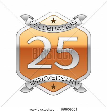 Twenty five years anniversary celebration silver logo with silver ribbon and golden hexagonal ornament on white background.