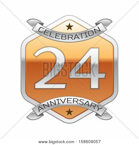 Twenty four years anniversary celebration silver logo with silver ribbon and golden hexagonal ornament on white background.