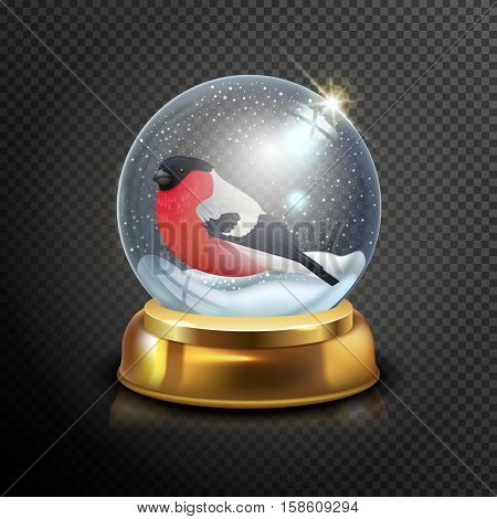 Christmas Snow Globe With Bullfinch Isolated On Transparent Background Vector Illustration. Winter I