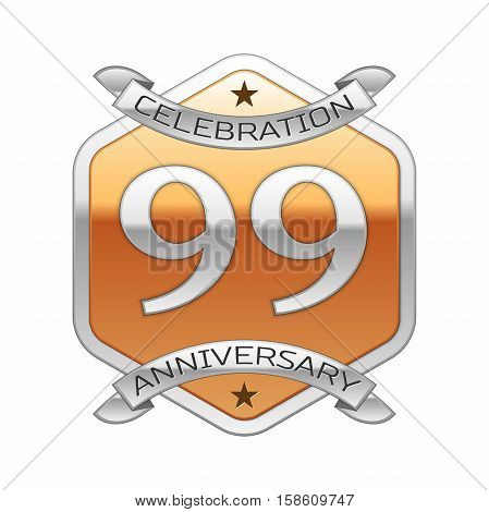 Ninety nine years anniversary celebration silver logo with silver ribbon and golden hexagonal ornament on white background.