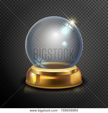 Magic Crystal Ball Of Glass And Gold . Empty Snow Globe. White Transparent Glass Sphere On A Stand.