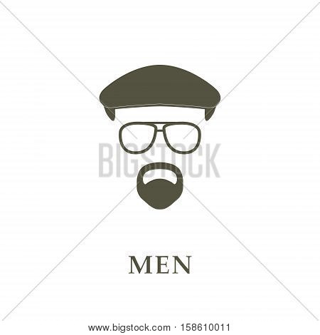 Avatar head man on ivy cap glasses and goatee. Vector illustrator.