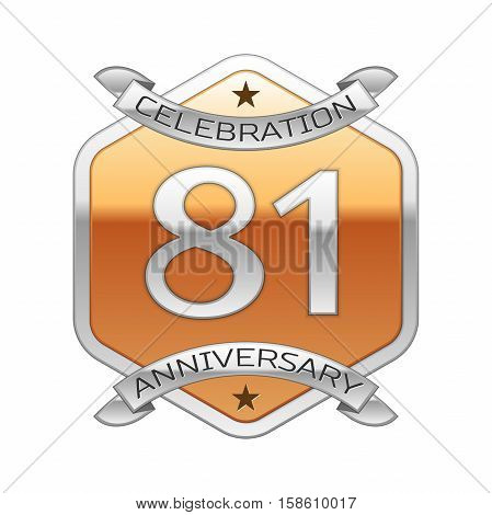 Eighty one years anniversary celebration silver logo with silver ribbon and golden hexagonal ornament on white background.