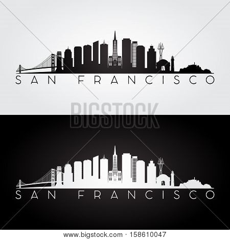 San Francisco USA skyline and landmarks silhouette black and white design vector illustration.