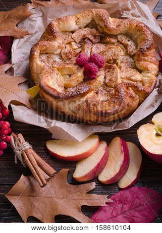 Apple pie with cinnamon and raspberry on a wooden background