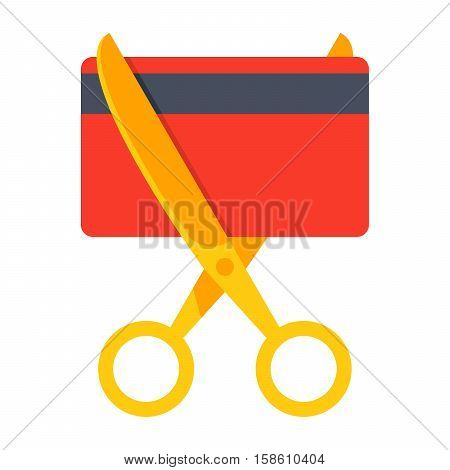 Debt free concept with credit card and golden scissors