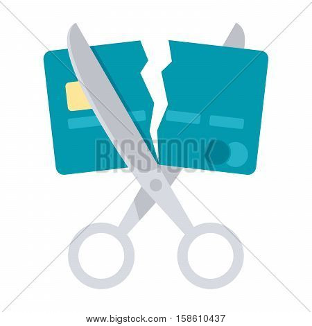 Debt free concept with scissors cutting a credit card