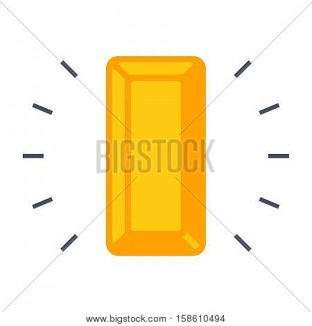 Simple icon with gold bullion on white background