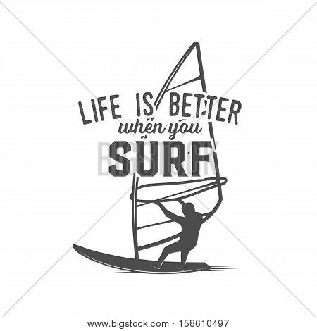 Windsurfing retro label, badge and logotype. Surfer vector. Vintage surf design elements. Surfing logo