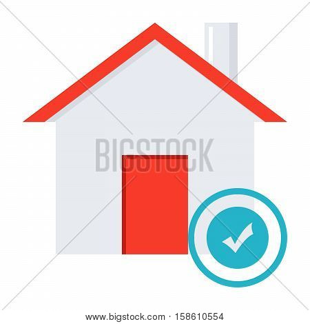 Mortgage loan concept with house and stamp