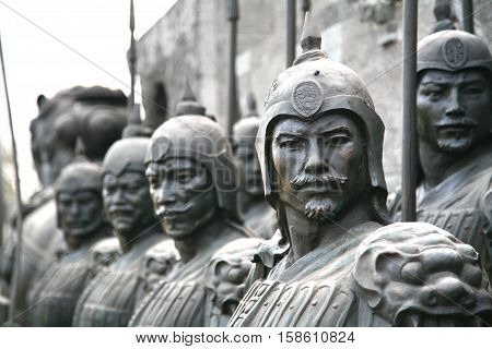XI'AN, CHINA - NOVEMBER 19, 2016   terracotta sculptures depicting the armies of Qin Shi Huang, the first Emperor of China