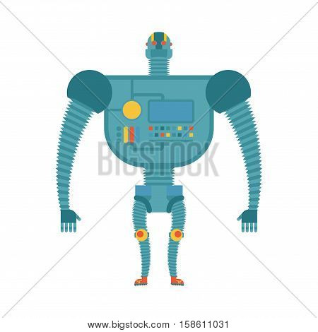 Humanoid Robot. Cyborg Isolated. Electronic Iron Man On White Background. Artificial Intelligence
