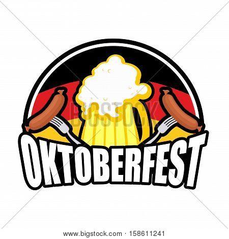 Oktoberfest Sausage And Beer Logo. Emblem For German Holiday. German Flag