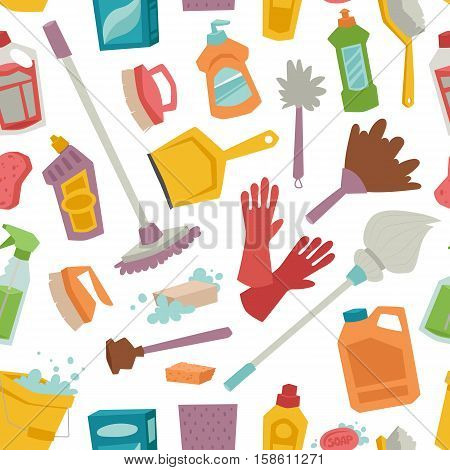 House cleaning tools seamless pattern and cleaning products flat vector icons set. Vector cleaning products symbols. House cleaning illustration. Other cleaning icons isolated on white background