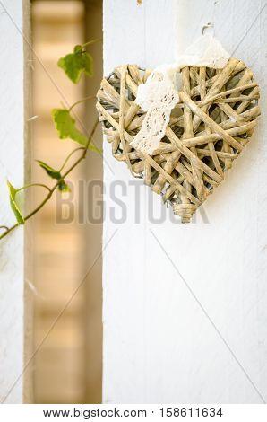 decorazione in bamboo a forma di cuore