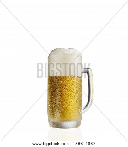Pint of cold foamy beer on a  white background