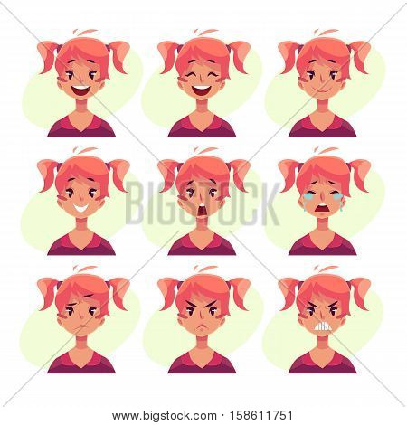 Teen girl face expression, set of cartoon vector illustrations isolated on yellow background. Red-haired girl with ponytails emoji face icons, set of female teen avatars with different emotions