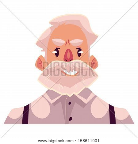 Grey haired old man face, upset, confused facial expression, cartoon vector illustrations isolated on white background. Old man feeling upset, concerned, confused frustrated.