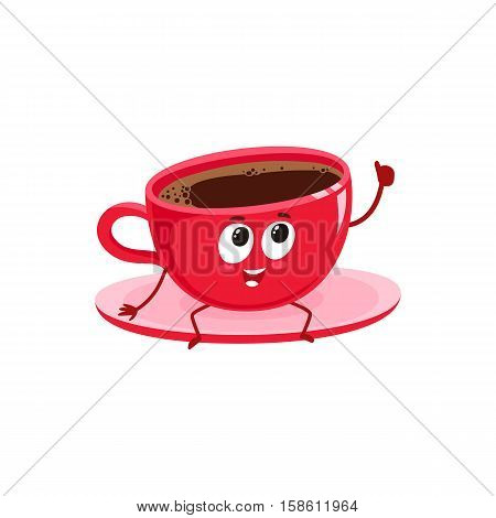 Funny black coffee cup character sitting on a saucer and giving thumb up, cartoon vector illustration isolated on white background. Cute red Americano coffee cup character