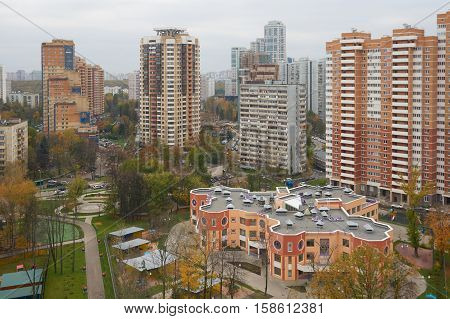 Autumnal view on blocks of flats and kindergarden on Novatorov street in Moscow Russia.