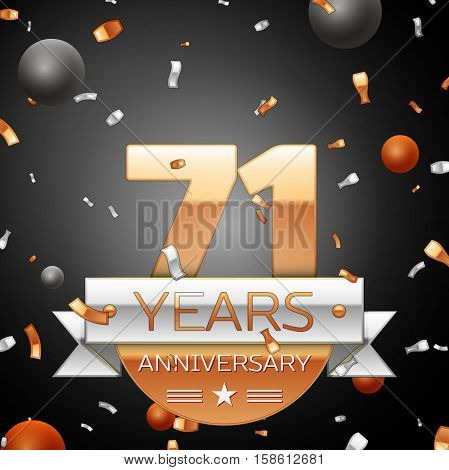 Seventy one years anniversary celebration background with silver ribbon confetti and circles. Anniversary ribbon. Vector illustration.
