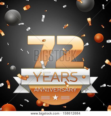 Seventy two years anniversary celebration background with silver ribbon confetti and circles. Anniversary ribbon. Vector illustration.