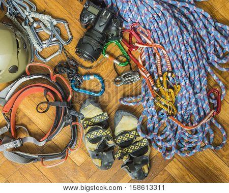 Equipment For Rock Climbing.