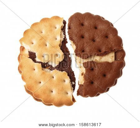 Tasty cookies on white background