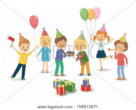 Cute boy celebrating birthday with her friends. Group of happy children congratulates his friend on his birthday. Cute boy blowing on candles on birthday cake after making his wish at party